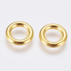 25 stuks DQ Tibetaans goudkleur gesloten ringen nikkelvrij 8 x 1,5mm gat: 5mm