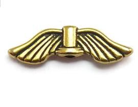 10 stuks Tibetaans zilveren vleugeltjes 21mm x 6,5mm x 2.5mm gat: 1.5mm goudkleur