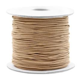 3 meter gekleurd elastiek draad 0,8mm van rubber voorzien van een laagje stof Taupe brown
