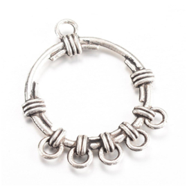 2 stuks tibetaans zilveren oorbellen ornamenten 34 x 27 x 3mm- gat 2 mm