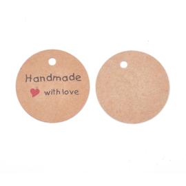 50 stuks stevige bruine labels prijskaartjes  (zonder touwtje) handmade with love 45mm diameter x 0,4mm  gat 4.5mm