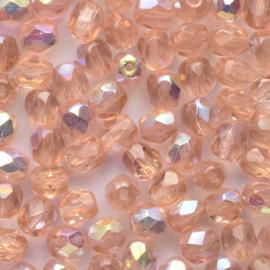 25 x ronde Tsjechië Kristal kraal 5 mm kleur: ab rosé gat c.a. : 1mm