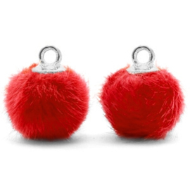 2 x Pompom bedels met oog faux fur 12mm Siam red-silver