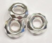 5 x Zilverkleurige kunststof facet ring 22 mm