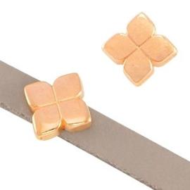 1x DQ metaal schuiver bloem Rosé goud Ø5.2×2.2mm