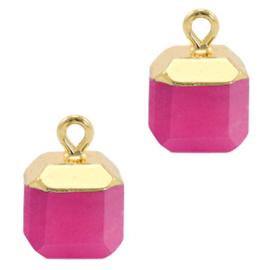 1 x Natuursteen hangers square Magenta pink-gold Jade
