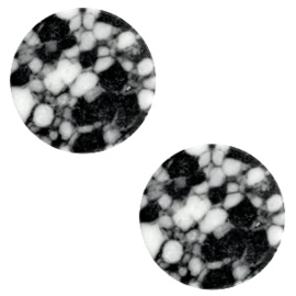 1 x Cabochon basic plat stone look 20mm Black-white