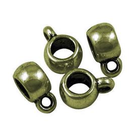 3x DQ Antiek Brons Bedel met oog 11,5x8 mm Ø 4.5