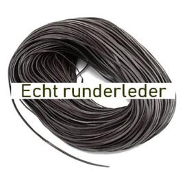 50cm echt runder lederen band  2 x 1mm donker bruin