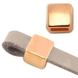 DQ metaal schuiver vierkant Ø5.2x4.2mm Rosé goud (nikkelvrij)