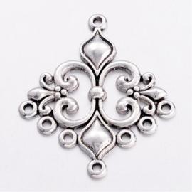 2 stuks tibetaans zilveren oorbellen ornamenten 35mm x 29mm x 2mm gat: 1.5mm