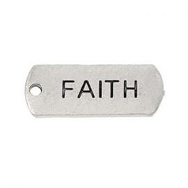 2 x Metalen Bedel Antiek Zilver Faith maat: 21x8 mm