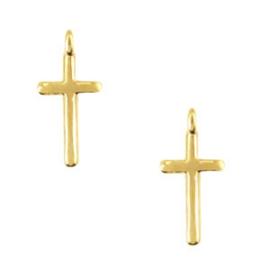 2 x Bedels DQ metaal kruis met oog Goud ca.16x8mm (Ø1.8mm)
