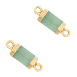 1 x  Natuursteen hangers tussenstuk hexagon Ocean green-gold