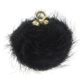 2 x Pompom bedels faux fur 16mm goud zwart