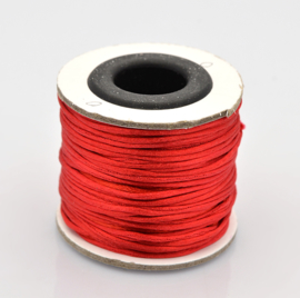 Rol met 30 meter satijn koord Nylon Marcramé koord 1mm kleur red