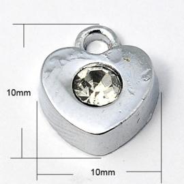2 x zware kwaliteit metalen strass hanger platinum 10 x 10 x 4mm gat 1,5mm