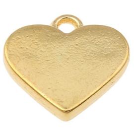2 x metalen goudkleurige bedel 17,5 x 17 x 3mm oogje: 2mm