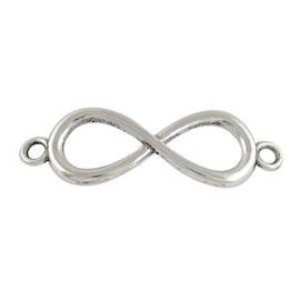 1x DQ Bedel 2 Ogen Infinity Antiek Zilver 13x39.5 mm