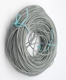 50cm DQ koord van runderleer 1mm dik kleur grijs