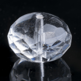 5x Kristal briolette 17 x12mm transparant gat:1,5mm