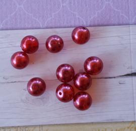 Nieuw! 15 x transparante DQ glasparel 10mm kleur: Ruby