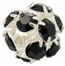 Verzilverde kristal ballen 10mm zwart