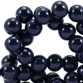30 stuks 4mm glaskralen opaque Dark midnight blue gat: 1mm