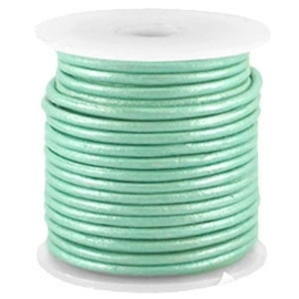 50 cm DQ Leer 3 mm Turquoise Groen Metallic