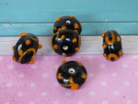 5 x High Quality Glass Hand Made Bead 78 afm. ca. 9x15mm