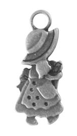 10x Tibetaans zilveren bedeltje van een meisje 28 x 12 x 3mm gat: 3,5mm 3D