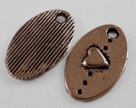 10 stuks Tibetaans zilveren bedeltjes met hartje 15,5 x 9,5 x 1,5mm Gat: 1,5mm rood koper