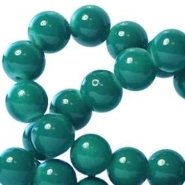 15 stuks Keramische Glaskralen 8mm Teal green