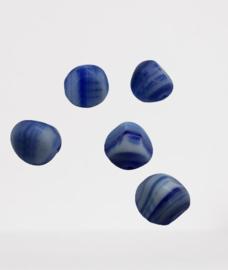 10x  Glaskraal  blauw gemeleerd 12x10 mm gat:1mm