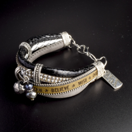 Prachtige armband, verstelbaar met metalen elementen believe wish dream