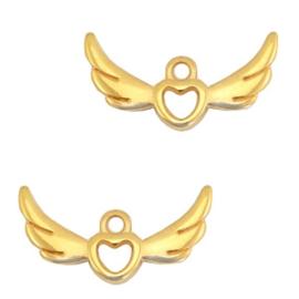 1 x Bedels DQ metaal heart with wings Goud 24x14 mm