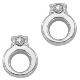 2 x Floating Charms Ring met steen Antiek Zilver 8×6 mm