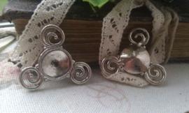 2 x Antiek zilveren metalen tussenzetsel spiralen 24 mm