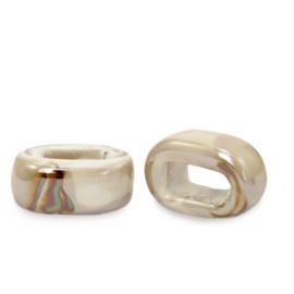 1 x C.U.S sieraden schuiver DQ Grieks keramiek 5x12mm Sand brown