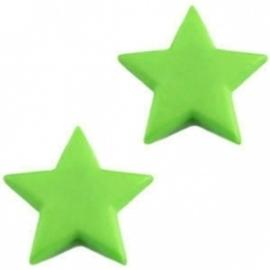 10 x Acryl kraal in de vorm van een ster 14 x 4mm gat 1mm mos groen