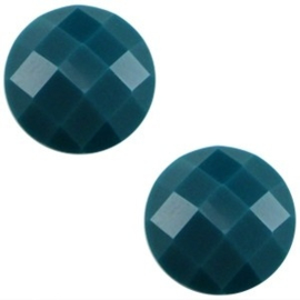 2 x Basic cabochon 10mm Deep emerald blue zircon