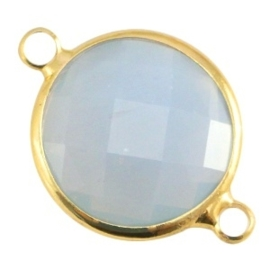 Crystal glas tussenstukken rond 16mm Light grey opal-Gold