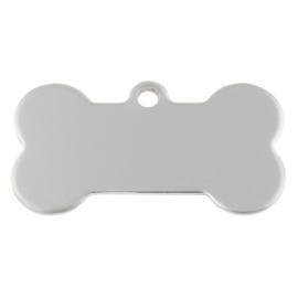 50 stuks RVS bedeltjes gelaserd en met hand gepolijst honden label  met eigen tekst 40x20x1mm gat: 2,5mm Tekst op één zijde