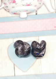 1x zilverfolie kraal paars/gekleurd 21x20mm Gat: 4 mm