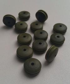 20 stuks  houten kraal disc groen, in het midden een ingesneden randje 14 mm