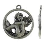 4 x Prachtige Tibetaans zilveren engelen hanger 27,50 x 31 x 3mm, oogje: 2,5mm
