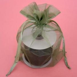 1 x luxe organza zakje, kies uit 6 verschillende maten - Moss Green