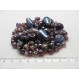 100 gram luxe glaskralenmix in diverse tintenmix 06