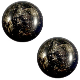 1 x 12 mm classic cabochon Polaris Elements Stardust Jet black