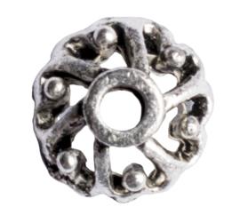 10 x metalen kraalkapje zilver kleur 9 x 4mm gat: 2mm